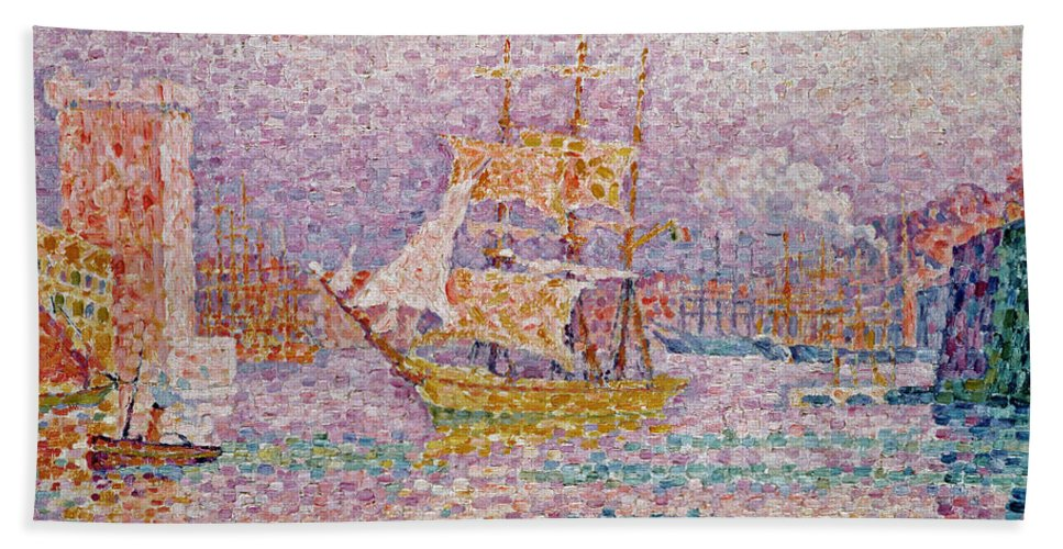 Harbour At Marseilles Beach Towel featuring the painting Harbour At Marseilles by Paul Signac