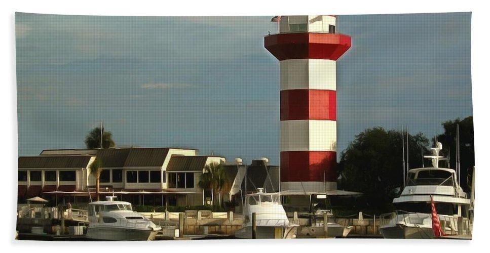 Harbour Town Light Beach Towel featuring the photograph Harbour Town Light Hilton Head South Carolina by Harbour Town Light Hilton Head South Carolina
