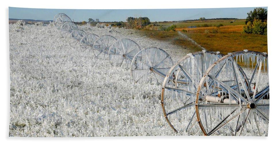 Farm Beach Sheet featuring the photograph Hard Land Farming by David Lee Thompson