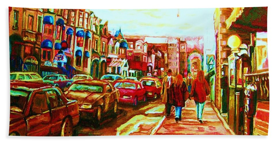 Montreal Streetscenes Beach Towel featuring the painting Hard Rock On Crescent by Carole Spandau