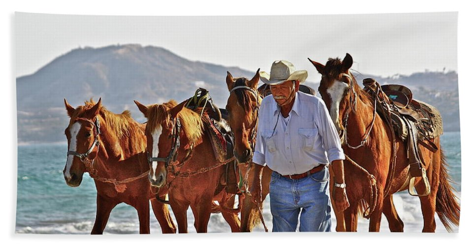 Animals Beach Towel featuring the photograph Hardworking Man by Diana Hatcher