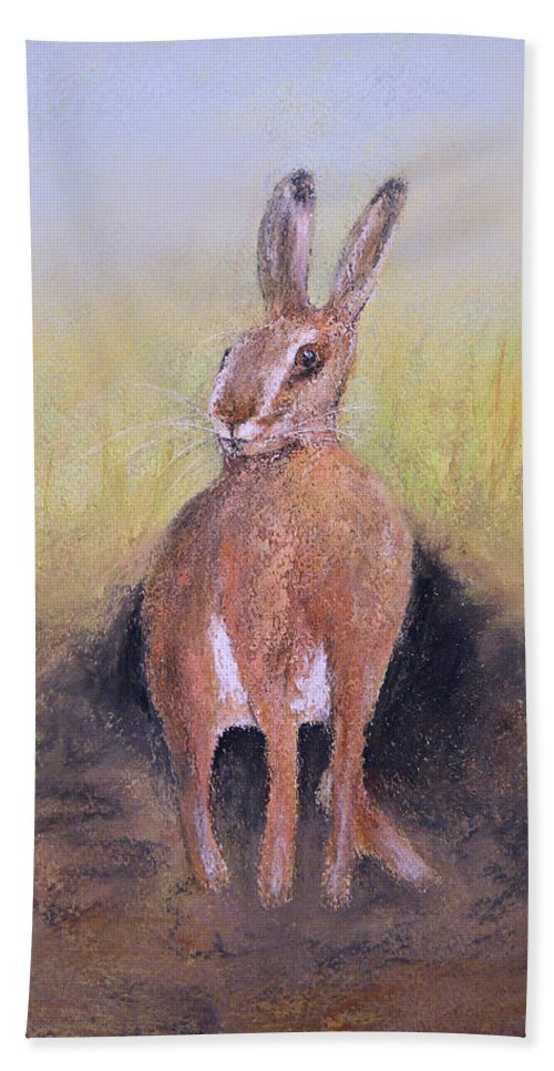 Hare Beach Towel featuring the painting Hare by Ken Figurski