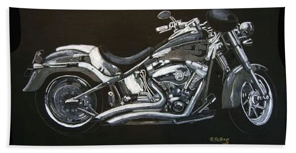 Harley Davidson Beach Towel featuring the painting Harley Davidson by Richard Le Page