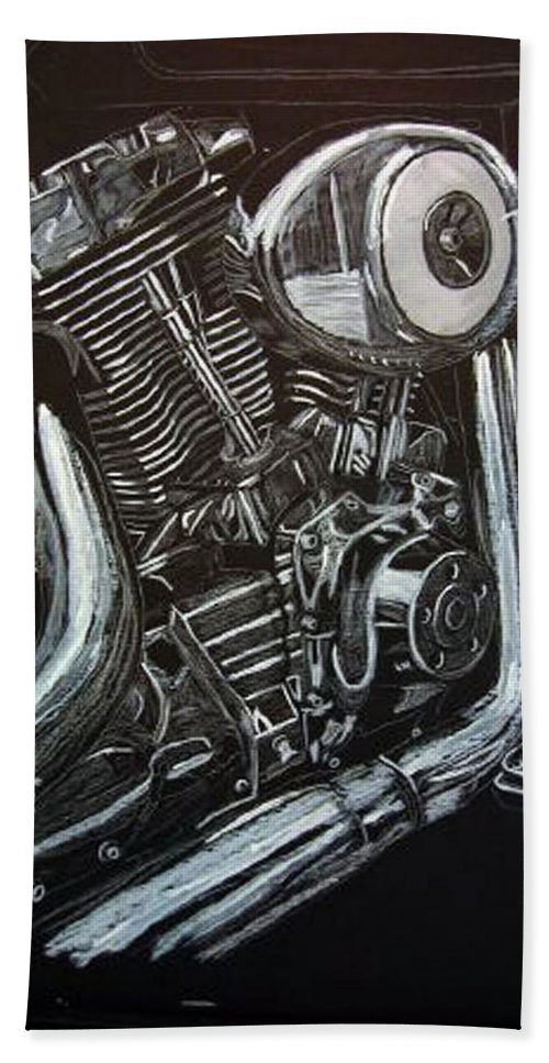 Engine Beach Towel featuring the painting Harley Engine by Richard Le Page