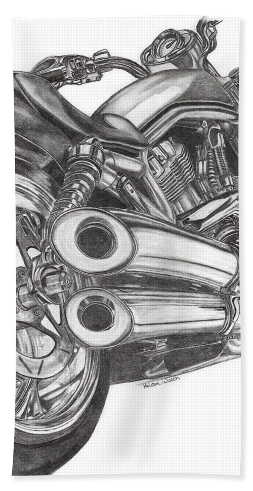 Harley Davidson Beach Towel featuring the drawing Harley by Kristen Wesch
