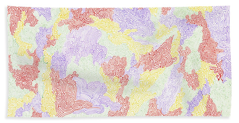 Mazes Beach Towel featuring the drawing Harmony by Steven Natanson