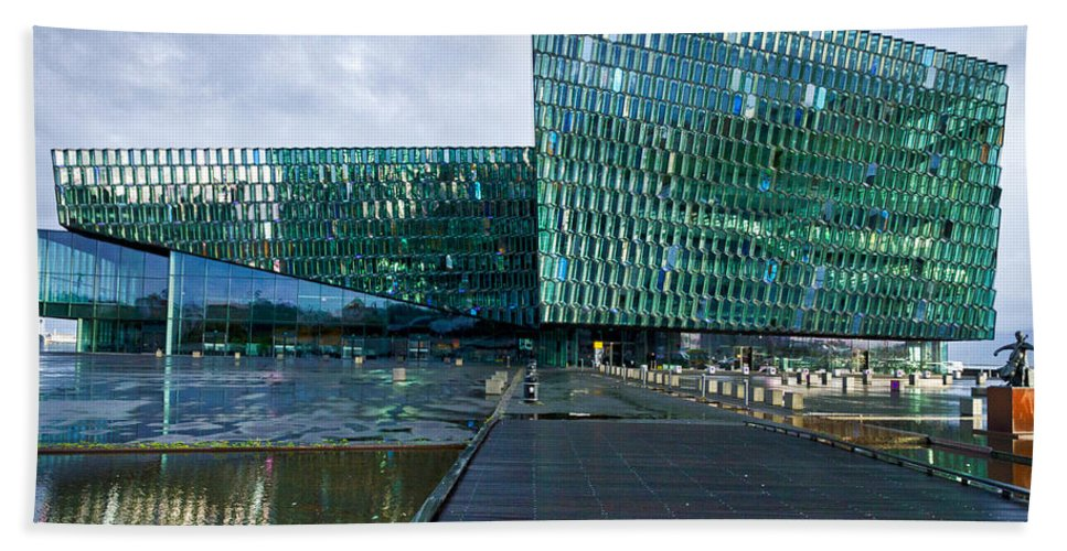 Reykjavik Beach Towel featuring the photograph Harpa Concert Hall - Iceland by Stuart Litoff
