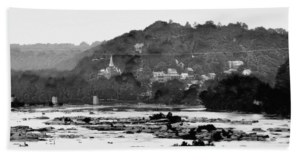 Harpers Ferry Beach Towel featuring the photograph Harper's Ferry From Across The Potomac by Bill Cannon