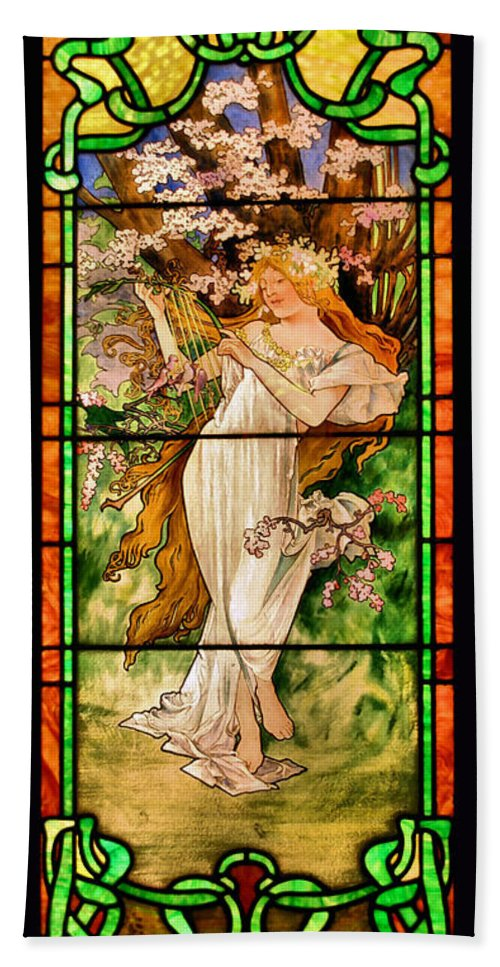 Stained Glass Beach Towel featuring the photograph Harpist by Kristin Elmquist