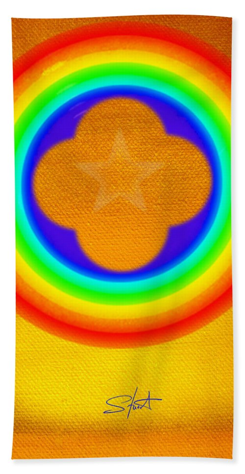 Abstract Beach Towel featuring the painting Harvest Gold by Charles Stuart