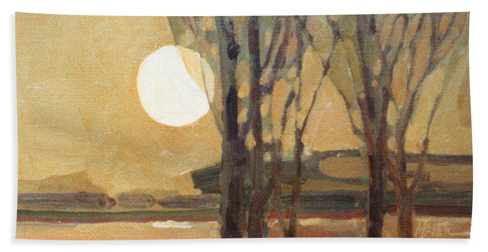 Sunset Beach Towel featuring the painting Harvest Moon by Donald Maier