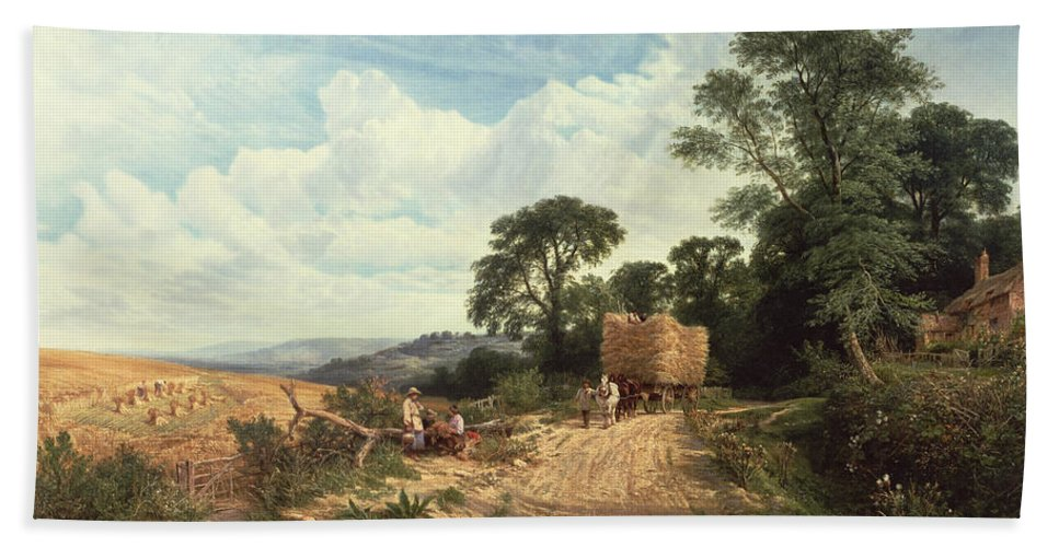 Landscape Beach Towel featuring the painting Harvest Time by George Vicat Cole