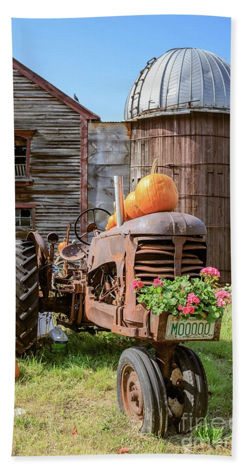Tractor Beach Towel featuring the photograph Harvest Time Vintage Farm With Pumpkins by Edward Fielding