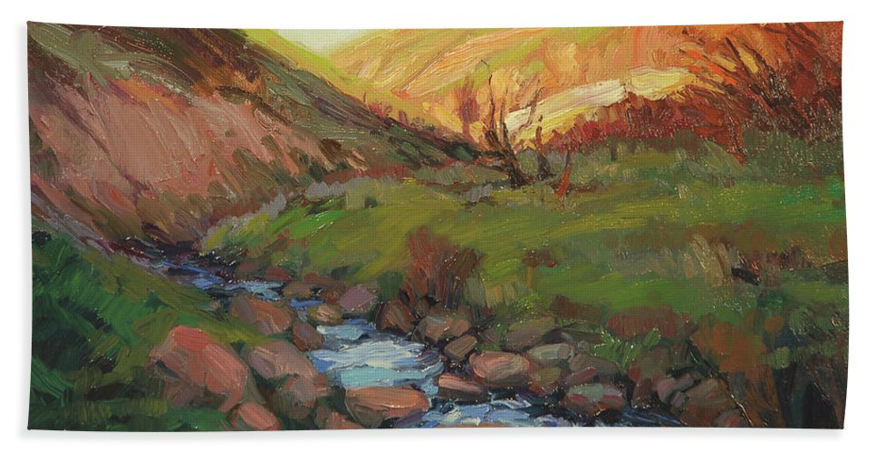 Country Beach Towel featuring the painting Hatley Gulch by Steve Henderson