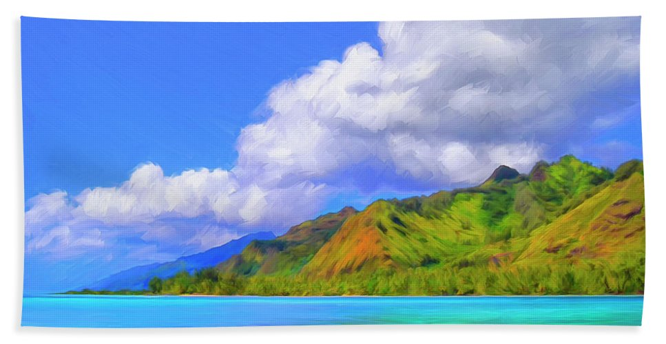 Hauru Point Beach Towel featuring the painting Hauru Point Moorea by Dominic Piperata