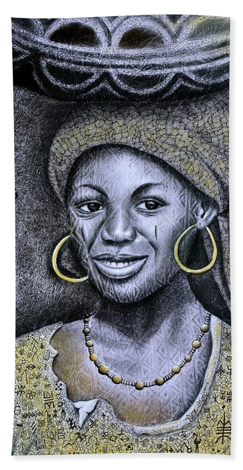 African Beauty Beach Towel featuring the painting Hausa Maiden by Nefe Ogodo
