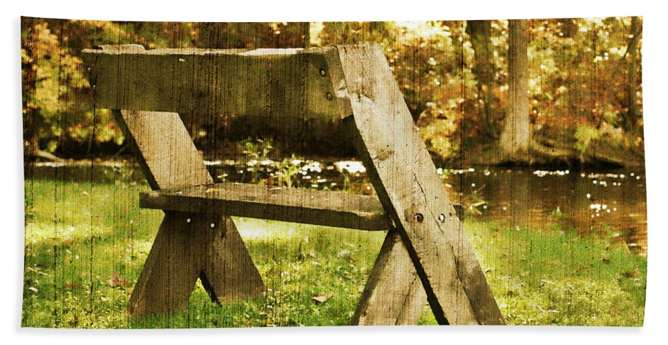 Bench Beach Towel featuring the photograph Have A Seat by Joel Witmeyer