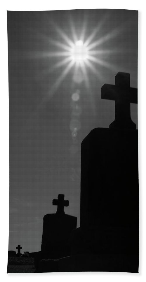 Cemetery Beach Towel featuring the photograph Have Faith...bw by Karol Livote