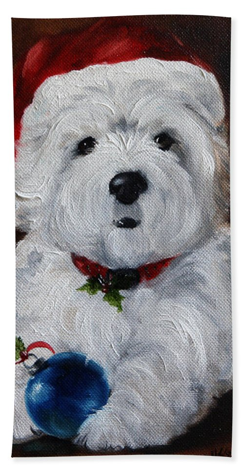 Art Beach Towel featuring the painting Have Yourself A Merry Little Christmas by Mary Sparrow