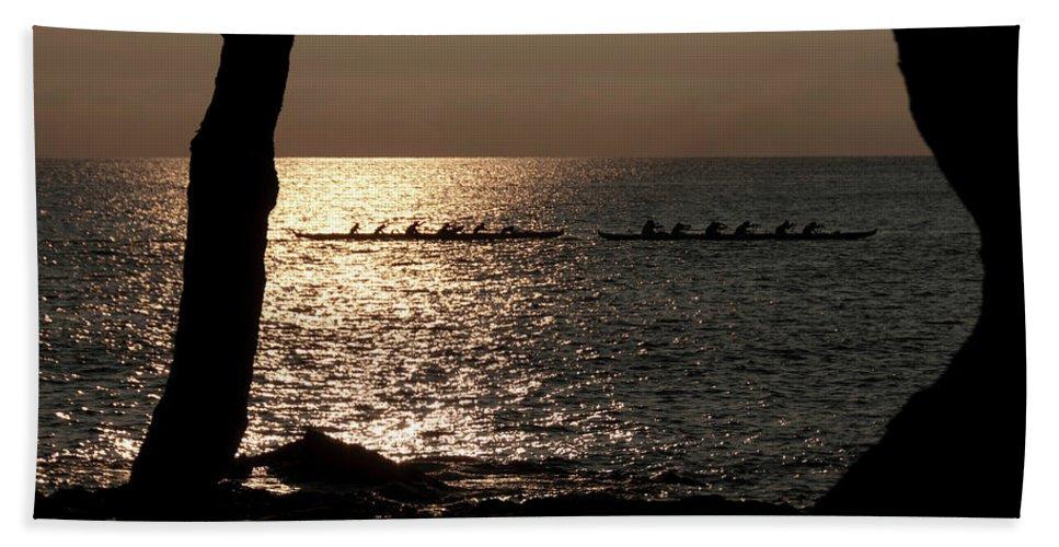 Hawaii Beach Towel featuring the photograph Hawaiian Dugout Canoe Race At Sunset by Michael Bessler