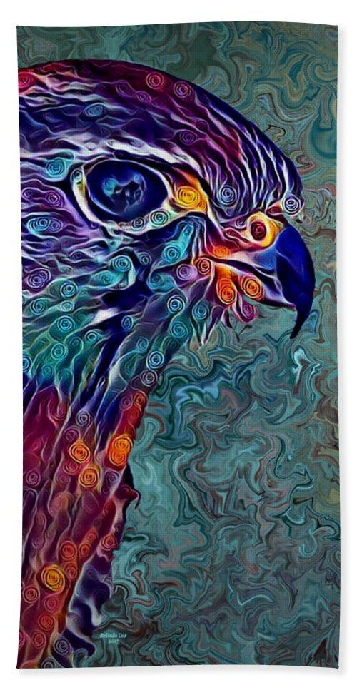 Digital Art Beach Towel featuring the digital art Hawk by Artful Oasis