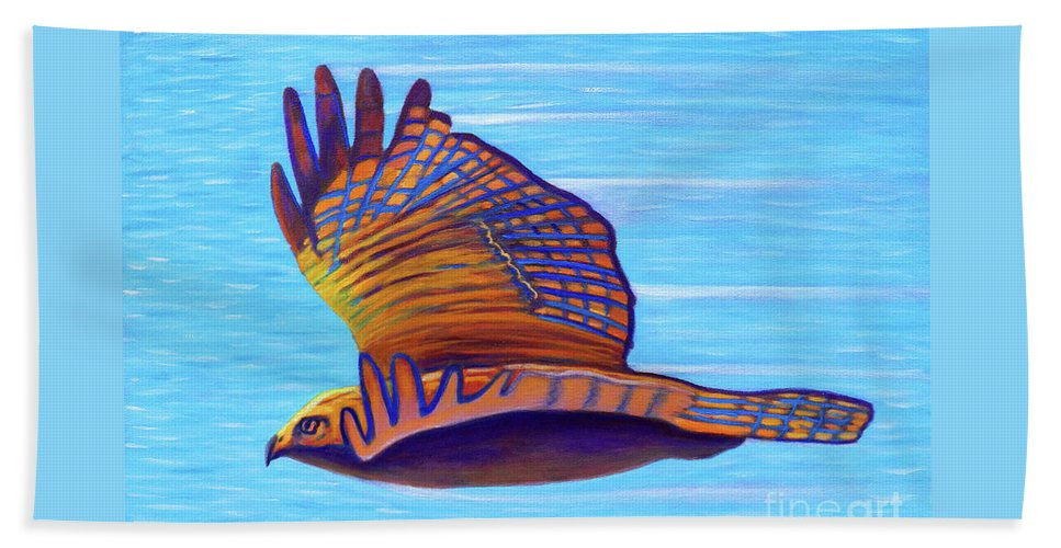 Hawk Beach Towel featuring the painting Hawk Speed by Brian Commerford