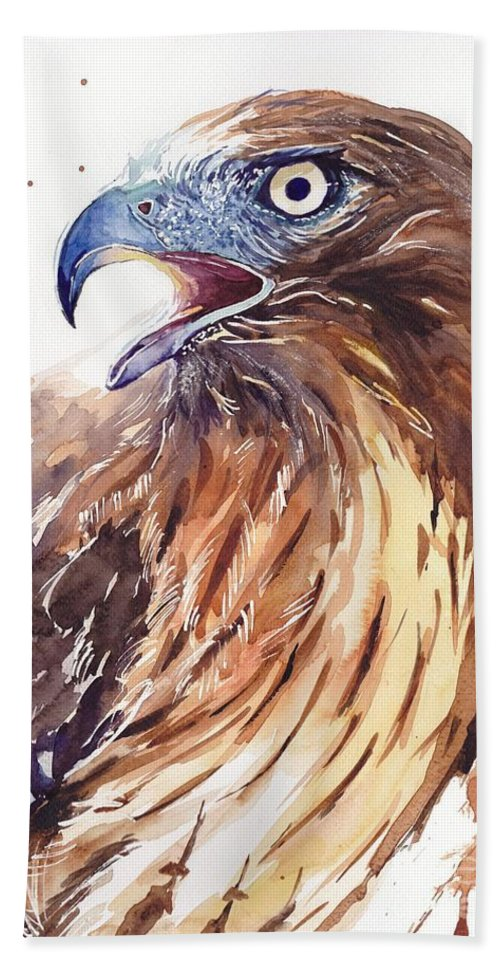 Pigeons Beach Towel featuring the painting Hawk Watercolor by Suzann Sines