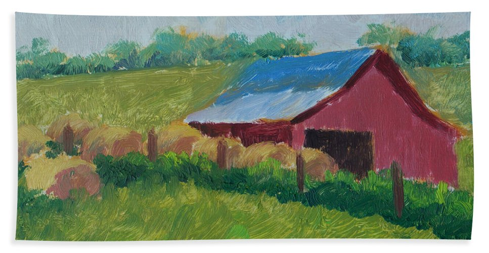 Impressionism Beach Towel featuring the painting Hay Bales In Morning Light by Keith Burgess