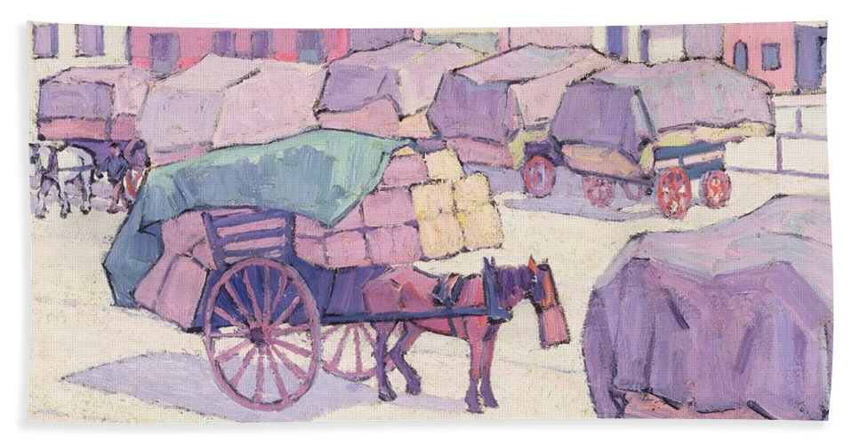 Hay Beach Towel featuring the painting Hay Carts - Cumberland Market by Robert Polhill Bevan