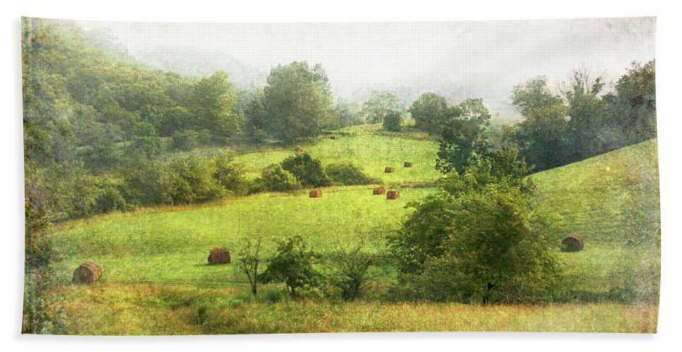 Beach Towel featuring the photograph Hay Fields by Guy Crittenden