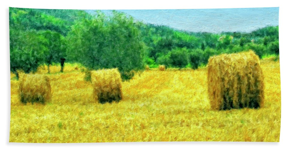 Hay Harvest In Tuscany Beach Towel featuring the painting Hay Harvest In Tuscany by Dominic Piperata