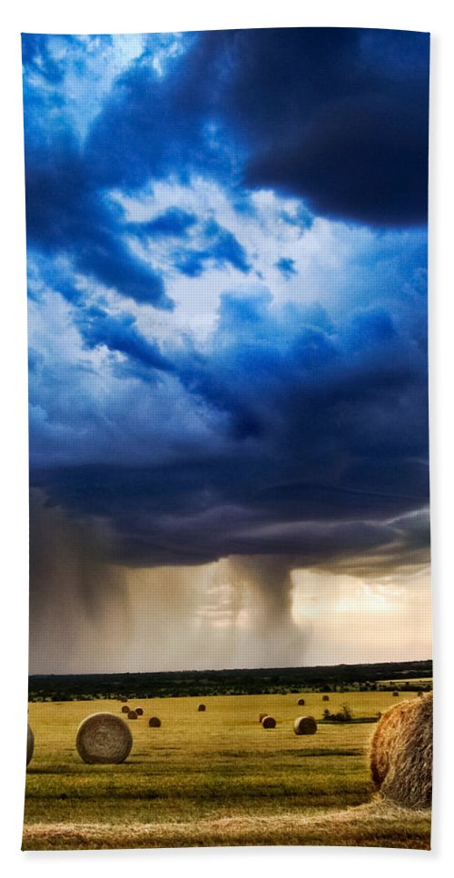Storm Beach Towel featuring the photograph Hay In The Storm by Eric Benjamin