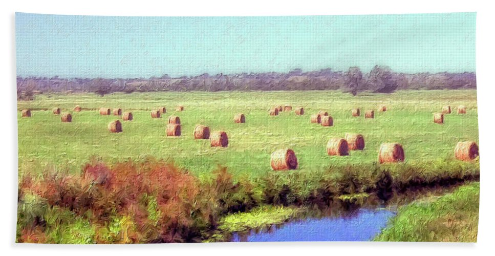 Hay Rolls Beach Towel featuring the painting Hay Rolls by Dominic Piperata