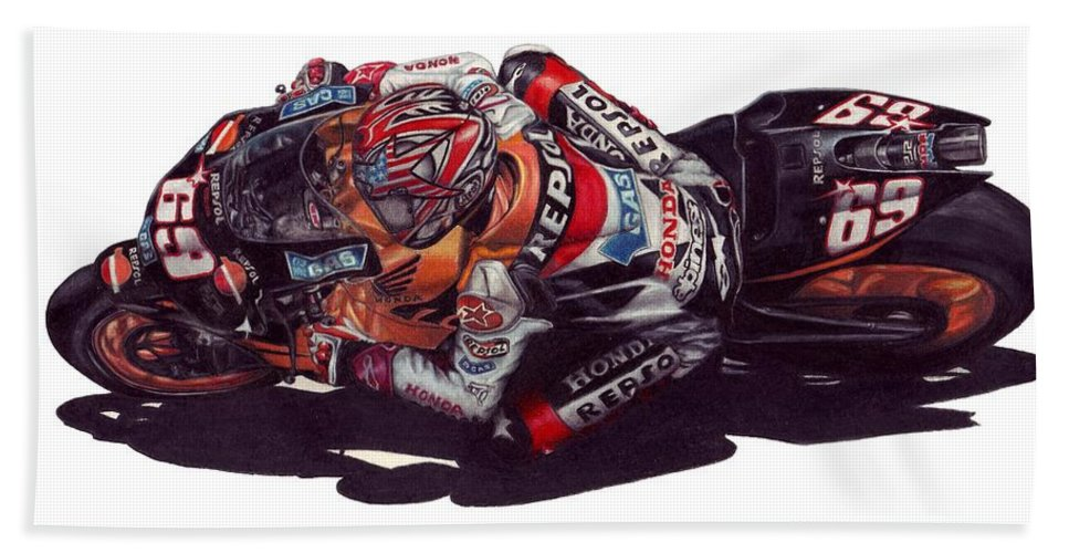 Nicky Hayden Beach Towel featuring the drawing Hayden by Kristen Wesch