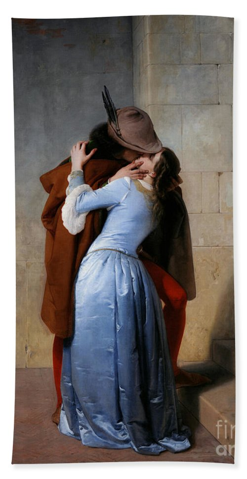 19th Century Beach Towel featuring the painting Hayez, The Kiss by Granger