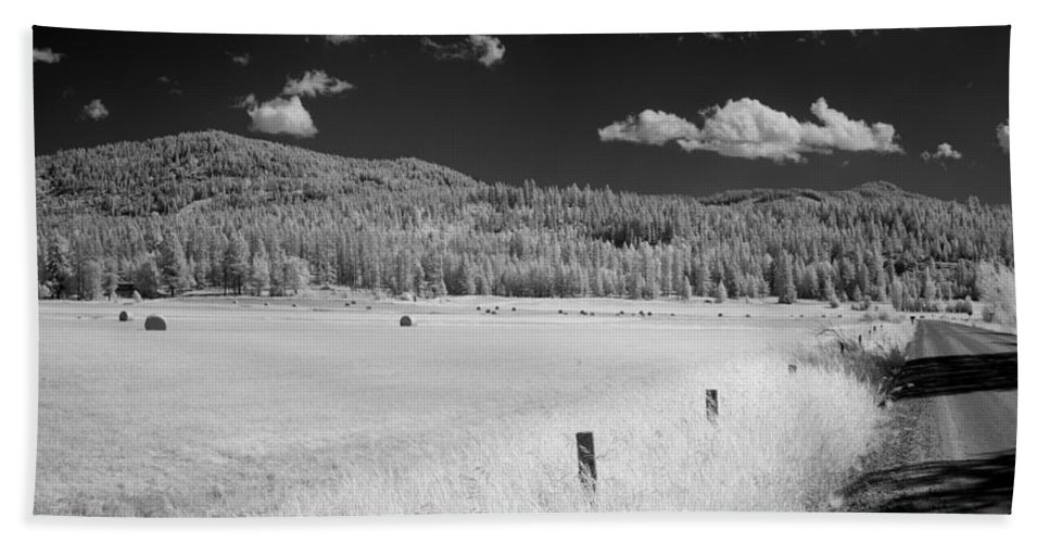 B&w Beach Towel featuring the photograph Hayfield by Lee Santa