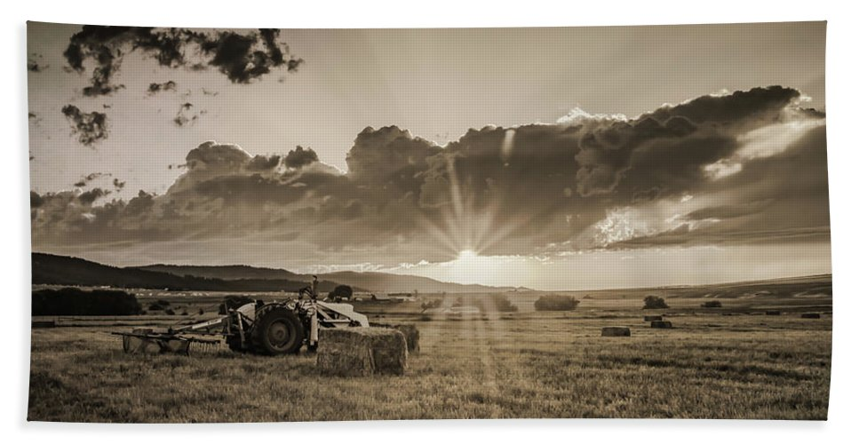 Tractor Beach Towel featuring the photograph Haying Time by Don Schwartz