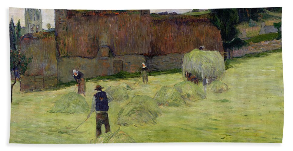Haymaking In Brittany Beach Towel featuring the painting Haymaking In Brittany by Paul Gauguin