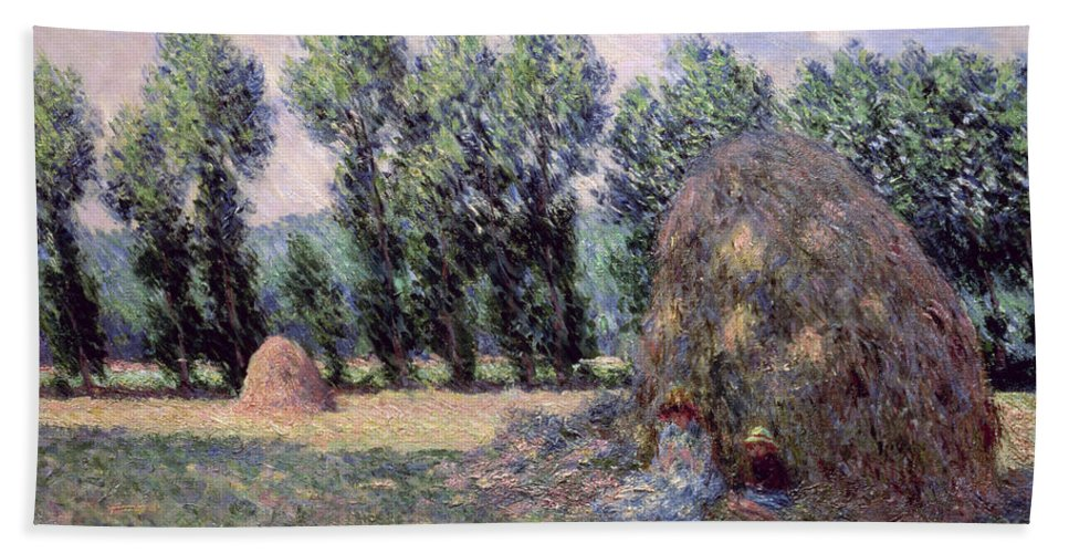 Haystacks Beach Towel featuring the painting Haystacks by Claude Monet