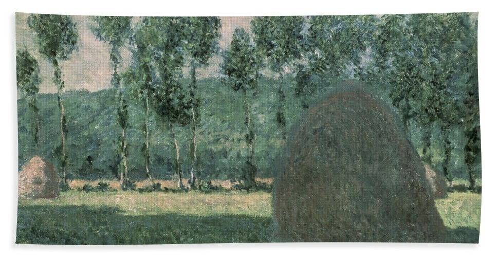 Impressionist; Landscape; Trees; France Beach Towel featuring the painting Haystacks Near Giverny by Claude Monet