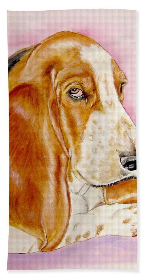 Basset Hound Painting Beach Towel featuring the painting Hazel by Carol Blackhurst