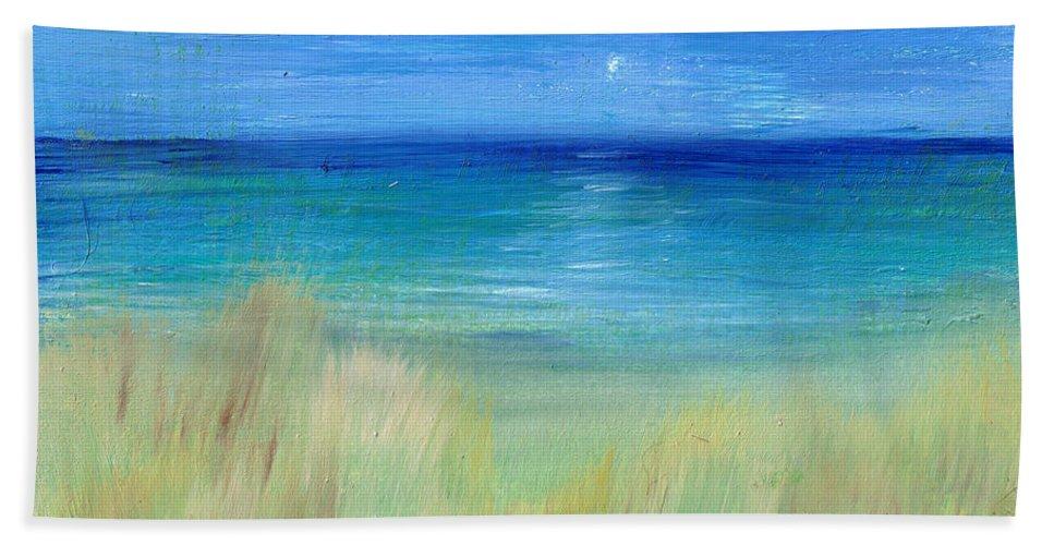 Beach Beach Towel featuring the painting Hazy Beach Mini Oil On Masonite by Regina Valluzzi