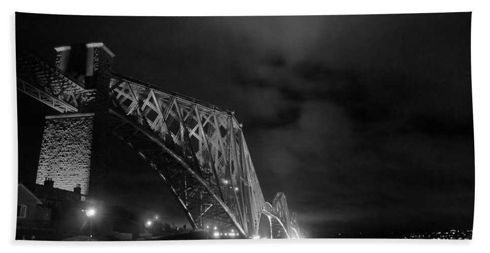 North Queensferry Beach Towel featuring the photograph Hazy Lights In The Night by Elena Perelman