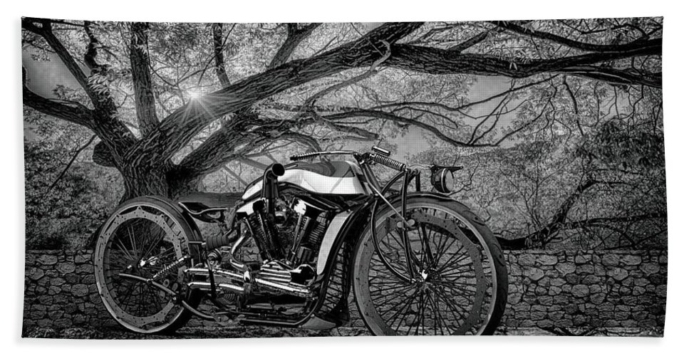 Bw # Motorcycle 3 Blackandwhite # Motorbike # Chrome # Cafe Racer # Caferacer # Cafe Racers# Bobbers # Street Trackers# Cafe Racers # Bobbers# Street Trackers# Custom Motorcycle #old School # Classic Motorcycle # Old School Beach Towel featuring the photograph Hd Cafe Racer by Louis Ferreira