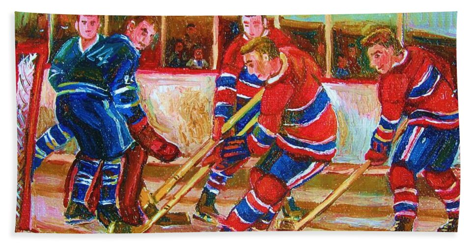 Hockey Beach Towel featuring the painting He Shoots  He Scores by Carole Spandau