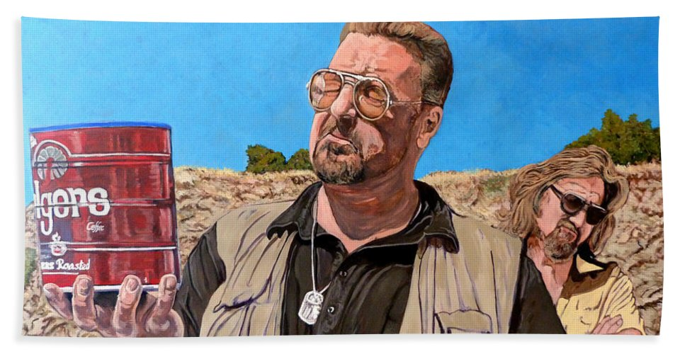 Walter Beach Towel featuring the painting He Was One Of Us by Tom Roderick
