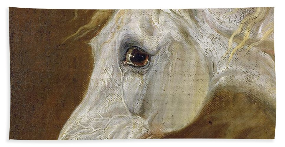 Head Beach Towel featuring the painting Head Of A Grey Arabian Horse by Martin Theodore Ward