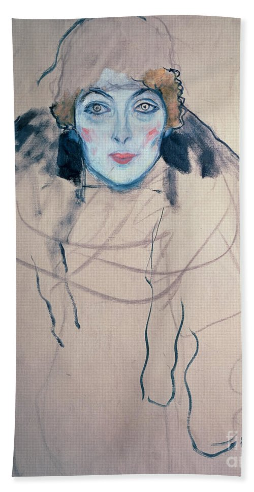 Klimt Beach Towel featuring the drawing Head Of A Woman by Gustav Klimt