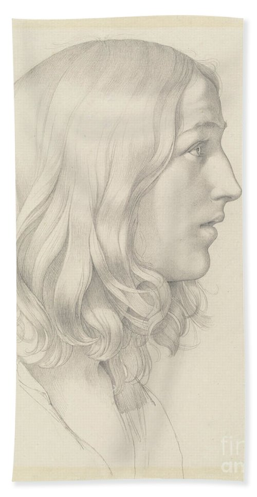 Beach Towel featuring the drawing Head Of A Young Man by Gustav Heinrich Naeke
