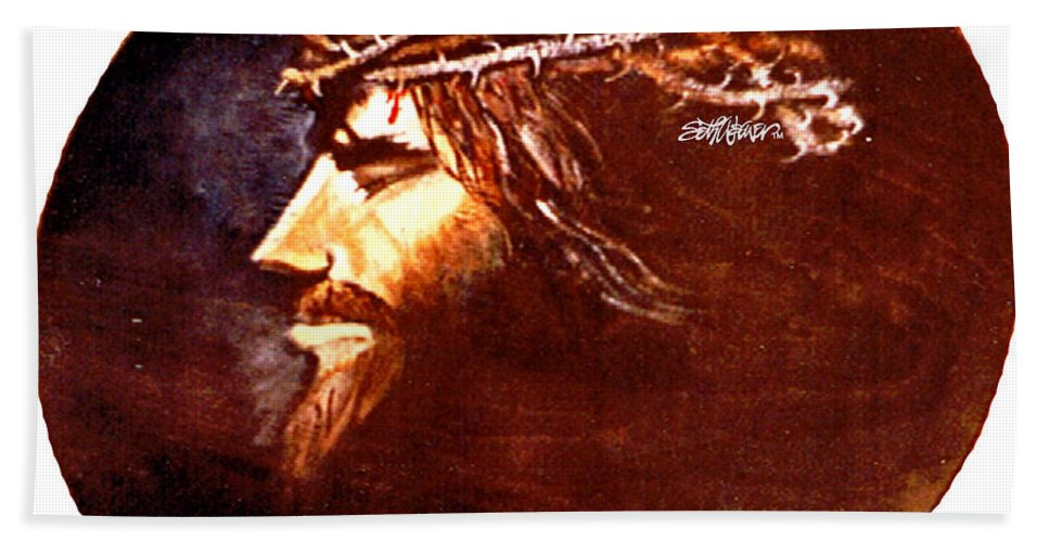 Jesus Christ Beach Towel featuring the painting Head Of Christ by Seth Weaver